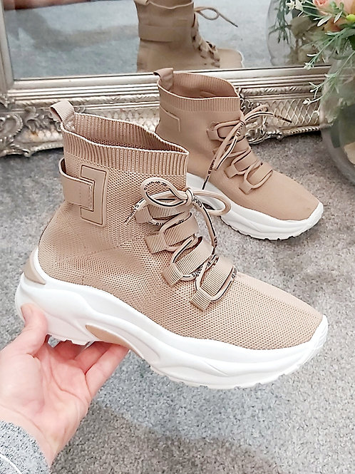 Beige Knitted Lace Up Sock Trainer