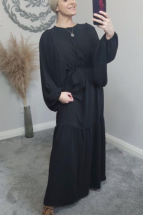 Black Grecian Batwing Maxi Dress