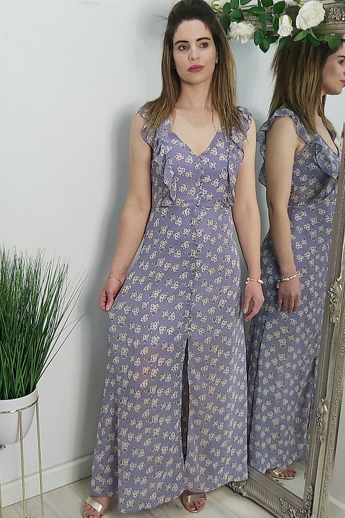 Lilac Floral Front Split Maxi Dress