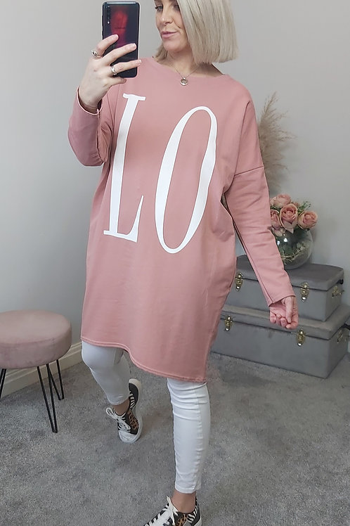 LOVE Slouch Oversized Tunic Top In Pink