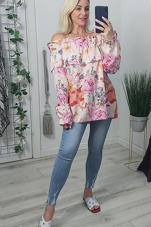 Pink Floral Bandeau Top