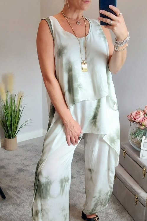 Khaki Tie Dye 3 Piece Floaty Trouser Set
