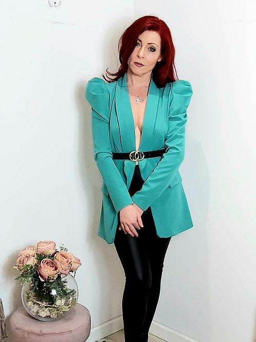 Turquoise Ruffle Sleeve Belted Blazer
