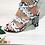 Thumbnail: White Snake Print Block Heels