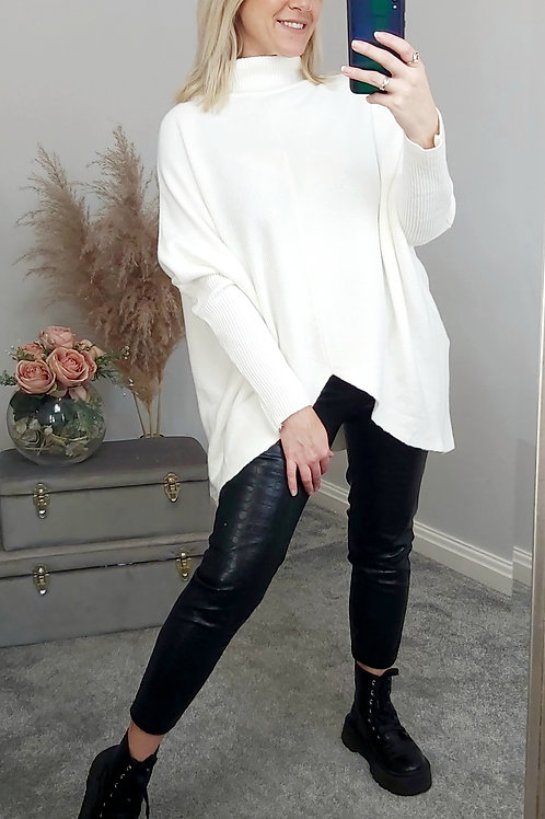 White Ribbed Asymmetrical Jumper
