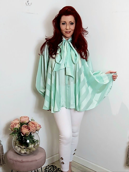 Mint Stripped Satin Pussy Bow Blouse