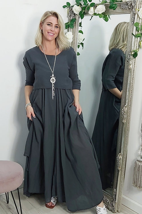 Full Skirt Floaty Tee Dress In Charcoal Grey