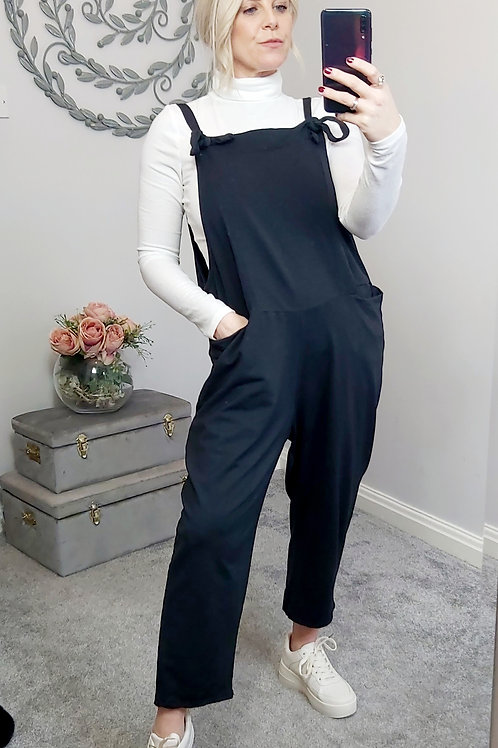 Slouch Oversized Cotton Dungarees In Black