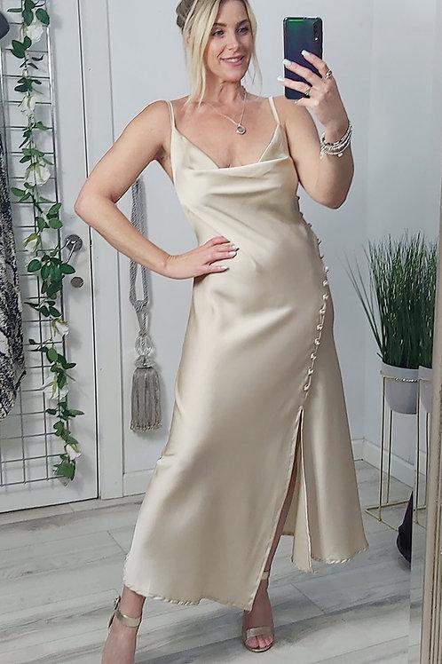 Champagne Spaghetti Strap Satin Midi Dress