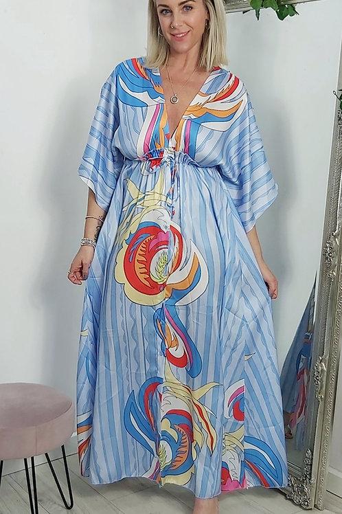 Blue Multi Print Maxi Dress