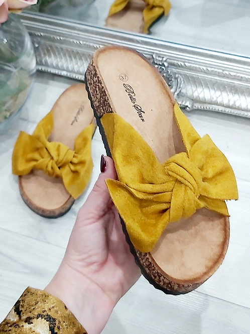 Mustard Suede Bow Sliders