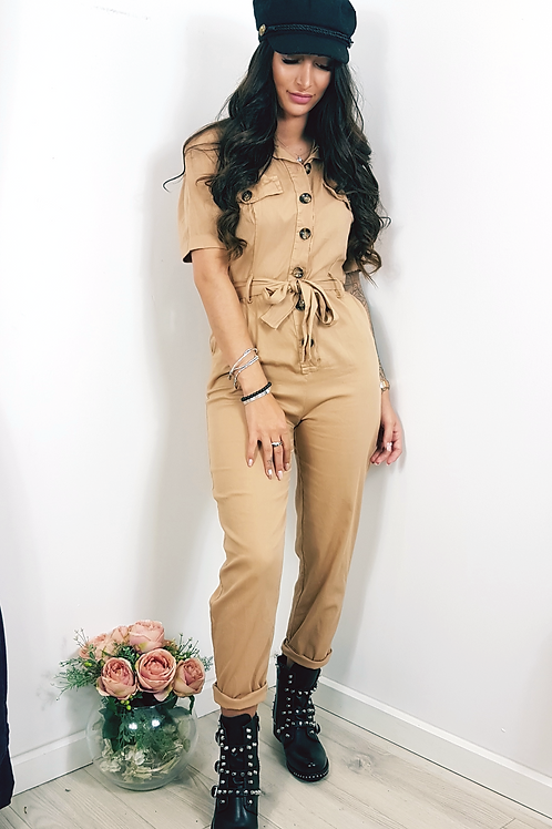 Military Style Boiler Suit In Tan