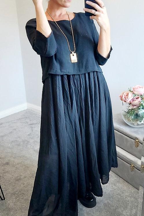 Black Cotton Oversized 2 Piece Long Italian Dress