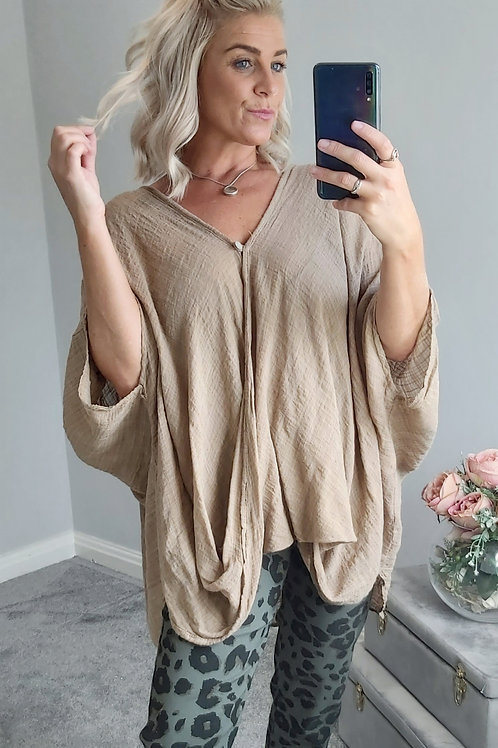 Oversized Slouch Batwing Cotton Top In Tan
