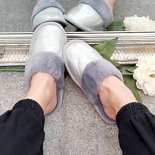 Grey Shimmer Faux Fur Slip On Slippers