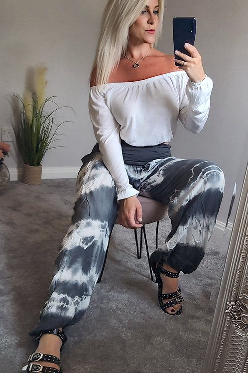 Grey Tie Dye Harem Pants