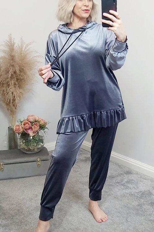 Blue Velvet Co-Ord Loungewear Set