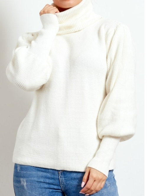 White Roll Neck Balloon Sleeve Jumper