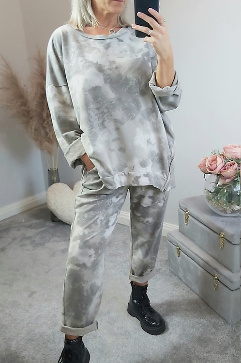 Sparkly Marble Loungewear Jumper In grey