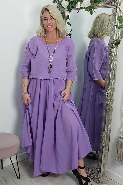 Full Skirt Floaty Tee Dress In Lilac