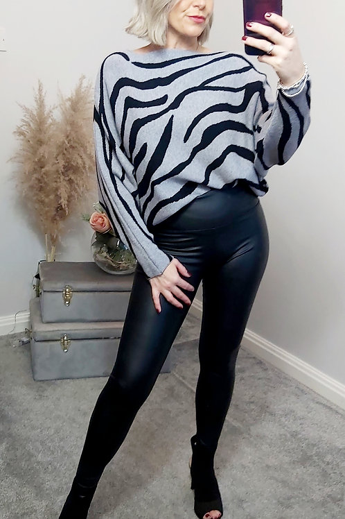 Grey & Black Zebra Knitted Jumper