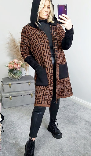 Hooded Long Open Knitted Cardigan