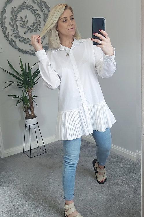 White Pleated Peplum Shirt