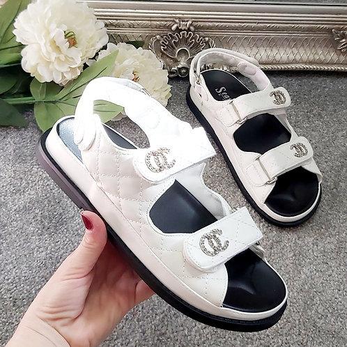 White Cushion Strappy Chunky Sandal