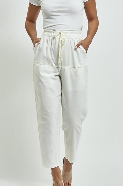 White Cotton Drawstring Trousers