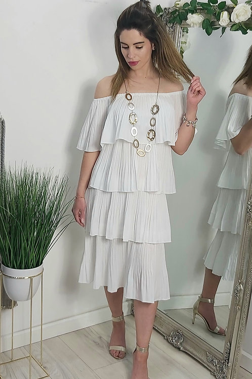 White Pleated Off The Shoulder Midi Dress