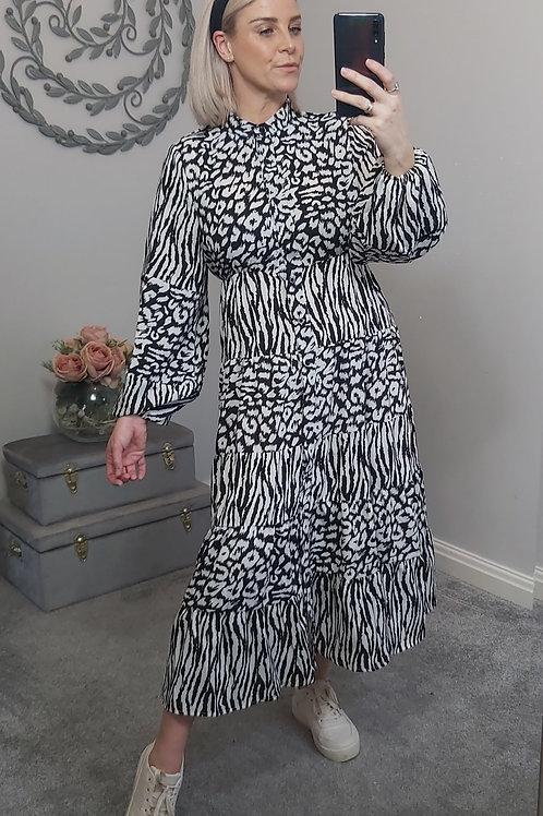 Black & White Animal Print Midi Dress