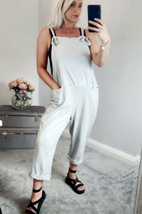 Slouch Oversized Cotton Dungarees In Grey