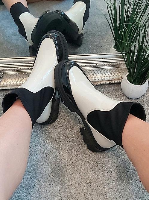 Patent Colour Black Mid Calf Boot