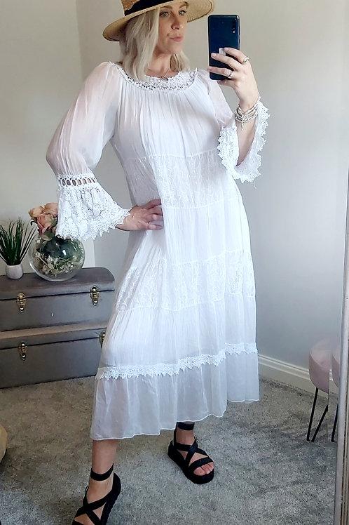 White Crochet Boho Maxi Dress