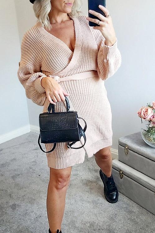 Dusky Pink Knitted Wrap Jumper Dress