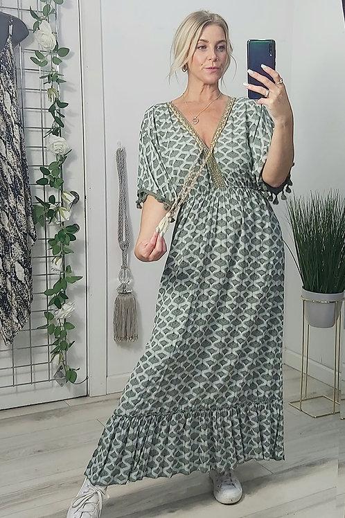 Khaki Print Grecian Tassel Maxi Dress