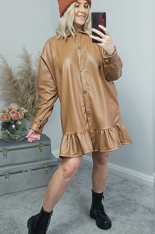 Brown Faux Leather Frill Hem Shacket
