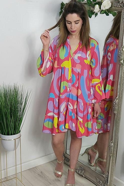 Pink Floaty Smock Dress In Multi Swirl Print
