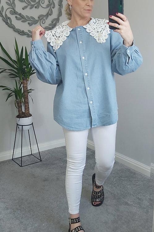 Denim Lace Pearl Collar Shirt