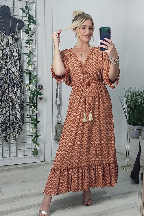Rust Print Grecian Tassel Maxi Dress