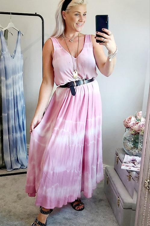 Pink Tie Dye Long Maxi Dress