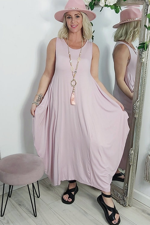 Stretch Parachute Dress In Dusky Pink