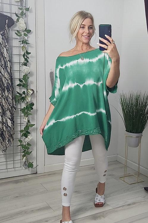Green Oversized Tie Dye Sequin Top