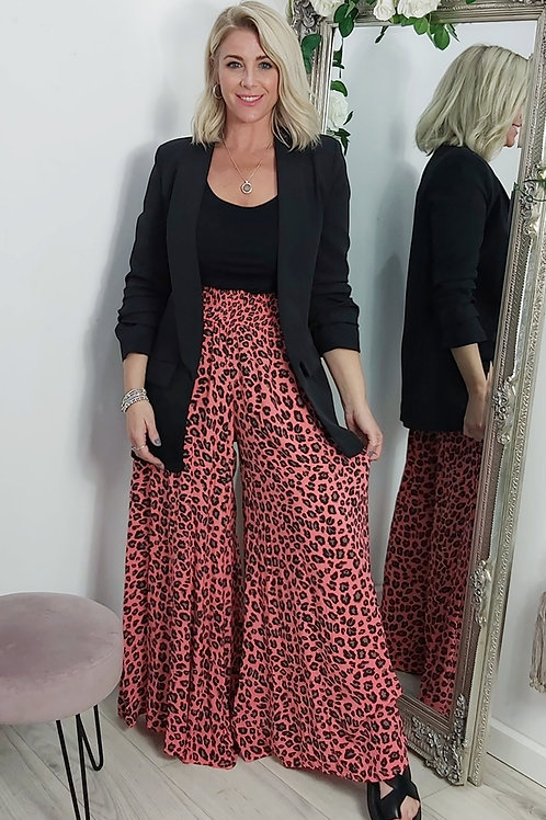 Leopard Wide Leg Palazzo Trousers In Salmon Pink