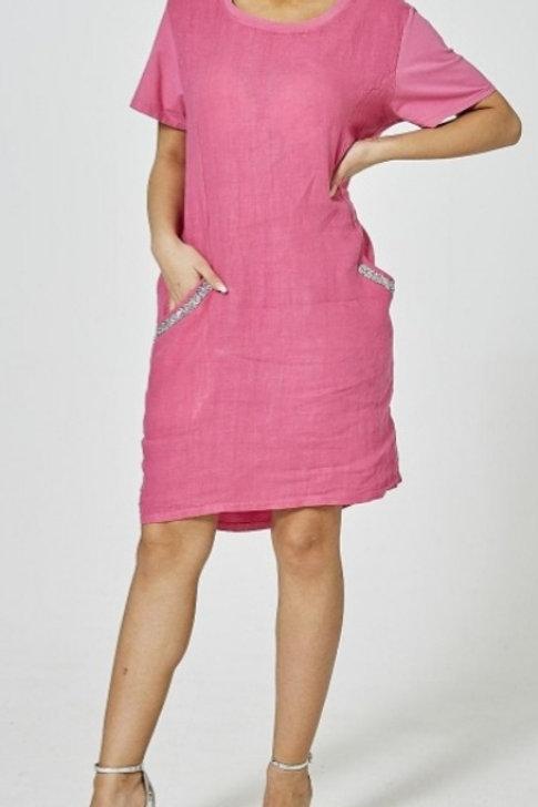 Fuchsia Pink Diamonte Detail Dress