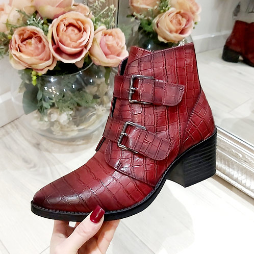 Red Croc Faux Leather Buckle Boot