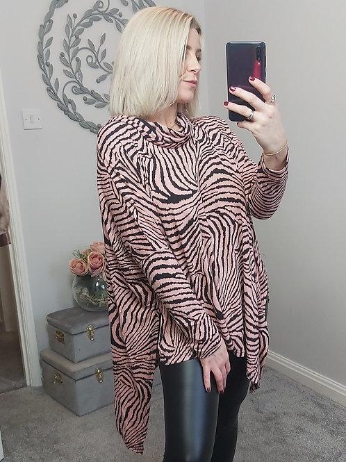 Pink & Black Zebra Asymmetric Top