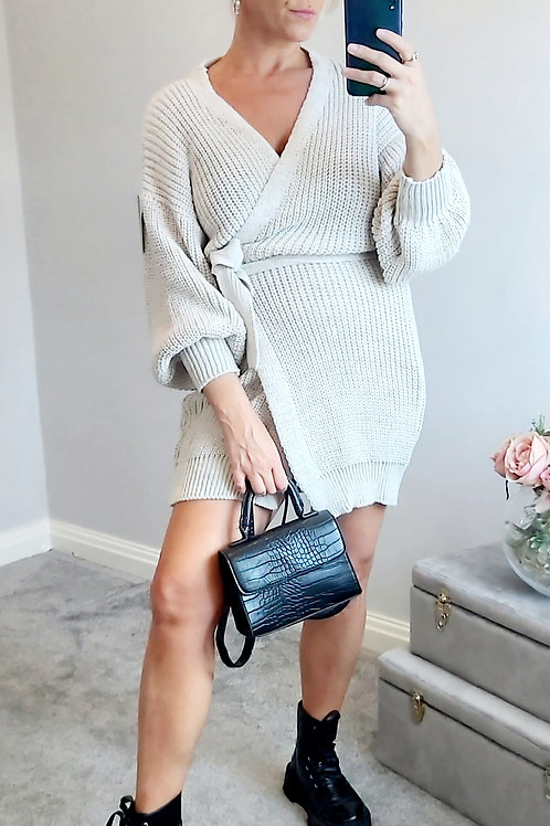 Beige Knitted Wrap Jumper Dress