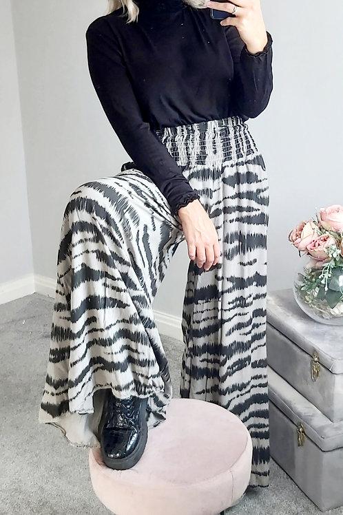 Wide Leg Zebra Palazzo Trousers In Grey