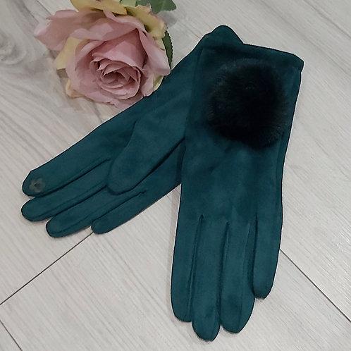 Pom Pom Suede Gloves